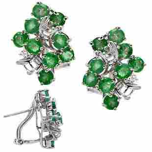 WG 3cttw Emerald cluster dia ribbon earring