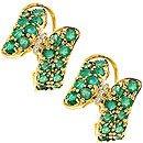 1011: 2.70c Emerald dia pavé bypass omega earring
