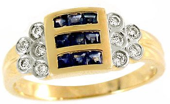 1016: .60ct sapphire princess .16dia channel ring