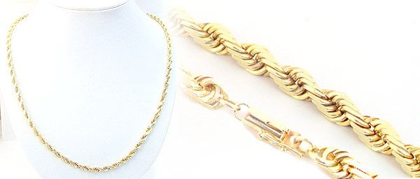 1018: 18kt twisted rope chain 16.5 inch 21.6gram