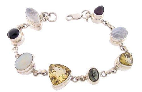 1022: Sterling Silver Multi Gem 8 stone bracelet