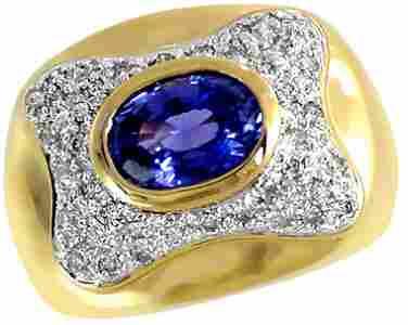 1046: 2ct Ceylon Sapphire bezel .38dia band ring