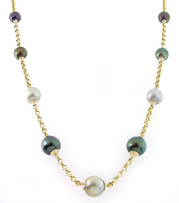 1051: 14YG 9/12m Tahitian 9 pearl rolo necklace