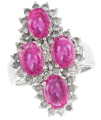 1136: 14KW 3.13ct Pink Sapphire 3 oval .77 Dia ring