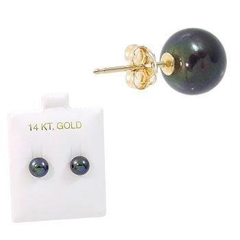 1020: 8.5mm Black Button Pearl Stud earring