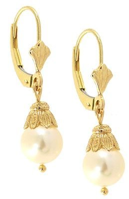 1021: 7mm white Pearl dangle leverback Earring