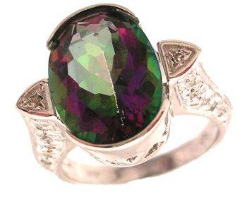 4101: 14KW 7.16ct Mystic Topaz .16ctw Diamond Half Beze