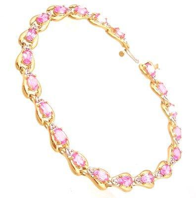 4103: 10KY 3.50ct Pink Topaz .12ct Diamond Bracelet