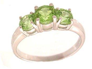 4104: 14KW 1.44ct Peridot Round Three Stone Ring