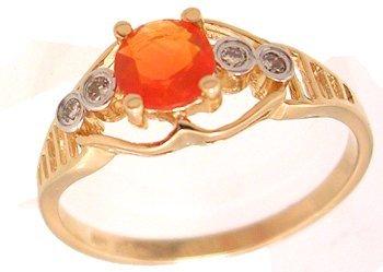 4107: 14KY .27ct Brazilian Fire Opal Diamond Ring