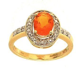 4108: 14KY 1.25ct Mexican Fire Opal .10ctw Diamond Ring