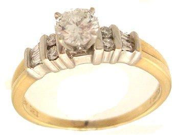 4112: 18KY .33ct Diamond .50cttw Rd Baguette Ring