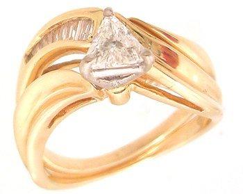 4113: 14KY .51cttw Diamond Trillion Baguette Bridal Set