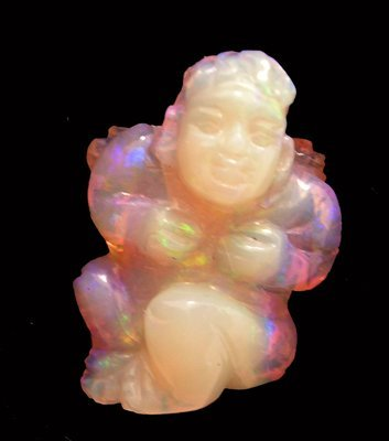 4115: 9.58ct FIRE Australian Jelly Opal Angel Carving