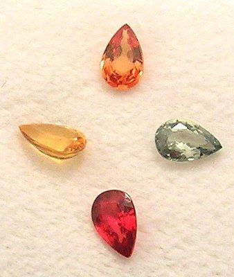 4118: 1.60+ct Mix Sapphire Pear Cut 6x4mm Parcel 4 Piec