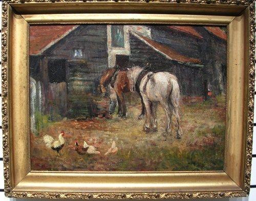 4199: Barnyard Scene by listed artist Arthur Spooner
