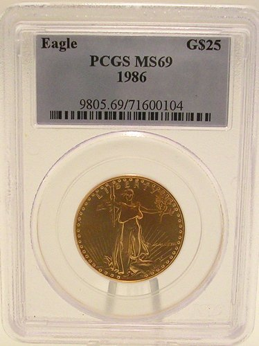 25003: 22KY 1986 $25 Eagle Liberty Coin PCGS/MS69
