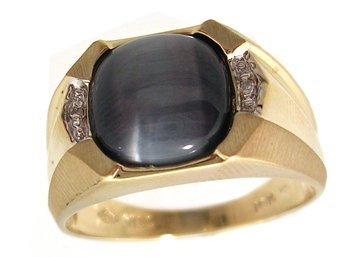 5107: 10KY Synthetic Cats Eye Style Diamond Mens Ring