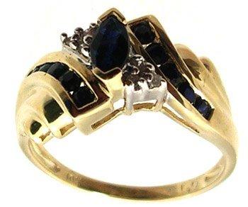 5108: 10KY .41ctw Blue Sapphire Marq Diamond Channel Ri