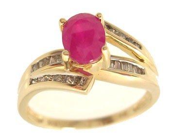 5109: 14KY 1ct Ruby Oval .20ct Diamond bag/rd Ring
