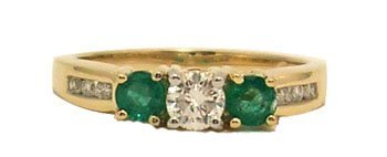 5110: 14KY .30ctw Emerald .36cttw Diamond Three Stone R