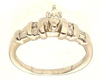 5114: Plt .55cttw Diamond Marq Rd Baguette Ring