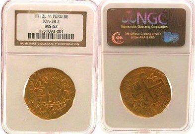 5138A: 22kt Gold 1712L Peru 8 Escudos Treasure Coin MS6