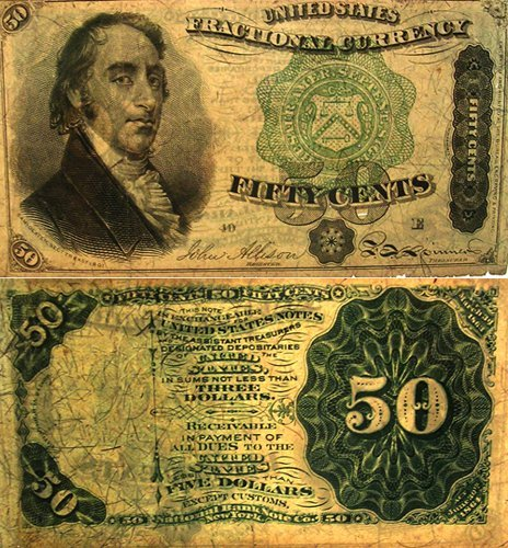 5141: Dexter Fifty Cent Fractional Paper Note 1873
