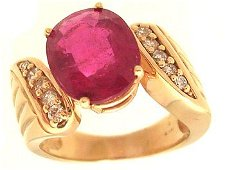 5164: 14KY 5.48ct Ruby Oval .25cttw Diamond Ring APPR $