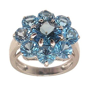 1102: 14KW 5cttw Blue Topaz Cluster ring