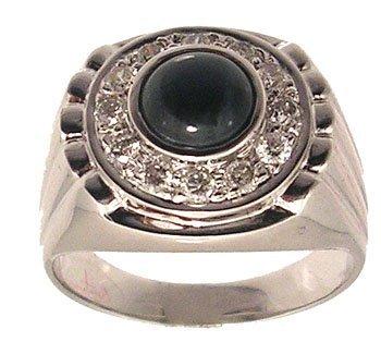 1105: 14KW 1.74 Star Sapphire .53ctw Diamond Mens Ring