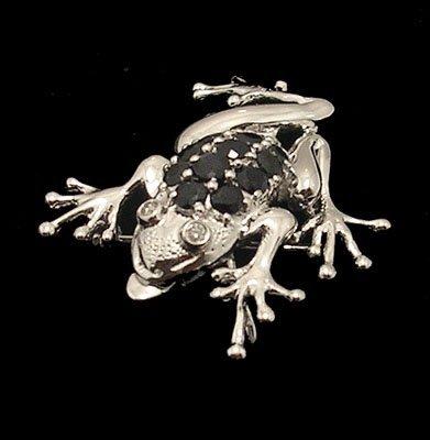 1106: 14KW 1.31ctw Blue Sapphire Diamond Jumping Frog P