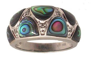 1109: 14KW Abalone Inlay Diamond Band Ring