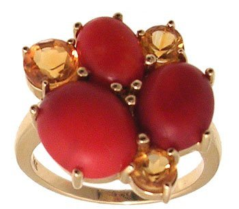 1110: 14KY Coral oval Citrine Rd 6 stone Cluster Ring