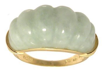 1111: 14KY Jade Ribbed Dome Ring