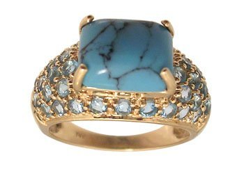 1112: 14KY Spiderweb Turquoise 1ct Blue Topaz Pave Ring