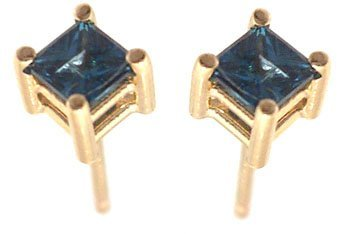 1113: 14KY .31ct Blue Diamond Princess Stud Earring