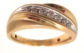 1114: 10KY .25cttw Diamond Rd Channel Satin mens Ring