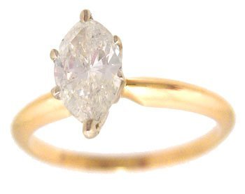 1115: 14KY .37ct Diamond Marquise Solitaire Ring SI2 L