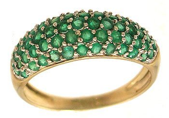 6309: 14KY 1ctw Emerald Five Row Band Ring
