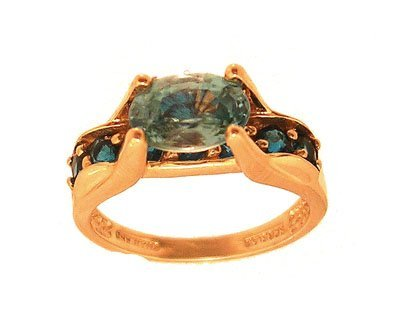 6311: 14KY 1ct Blue Zircon oval .50ct Apatite Ring