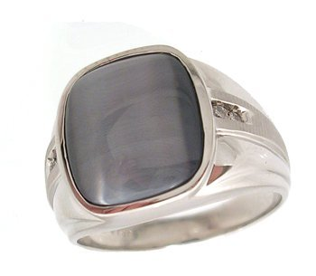 6313: 10KW Synthetic Grey Cats Eye Sq Diamond Mens Ring