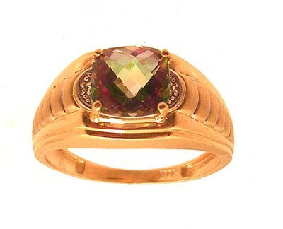 6314: 14KY 2ct Mystic Topaz Chckrboard Cushion Dia Mens