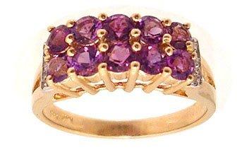 7100: 14KY .99ctw Amethyst Round Diamond 2 row Ring