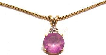 7102: 14KY 2.75ct Amethyst Round Diamond Necklace