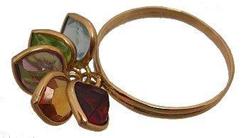 7103: 14KY Multi Gemstone Heart Dangle Ring