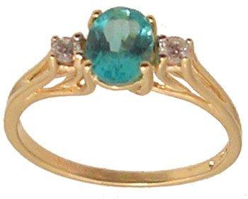 7108: 10ky .75ct Apatite Oval Diamond Ring