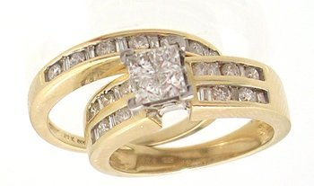 7114: 14KY 1cttw Diamond princess rd/bagg 2pc ring