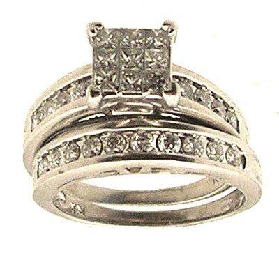 7215: 14KW 1.46cttw Dia Princess Invisible Wedding Set