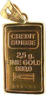 7307: 24KY Paris Gold Ingot 5gm Bar Pendant
